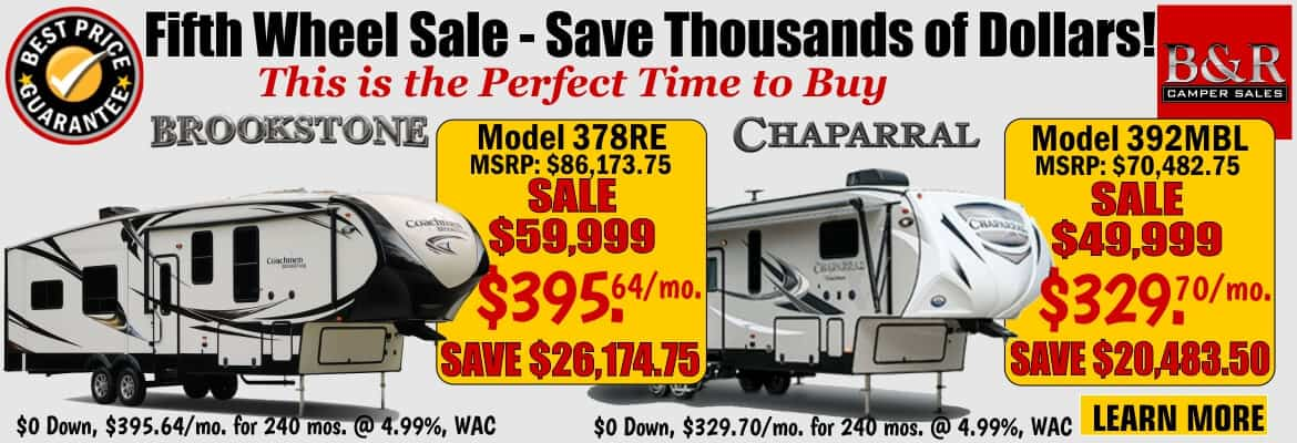 Fifth Wheels On Sale ! Save Thousands of Dollars!
